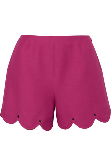 VALENTINO STUDDED SCALLOPED WOOL AND SILK-BLEND CREPE SHORTS