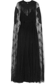 Valentino Cape-effect lace and silk-georgette gown