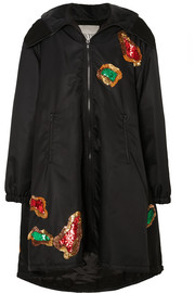 Valentino Hooded sequin-embellished shell coat