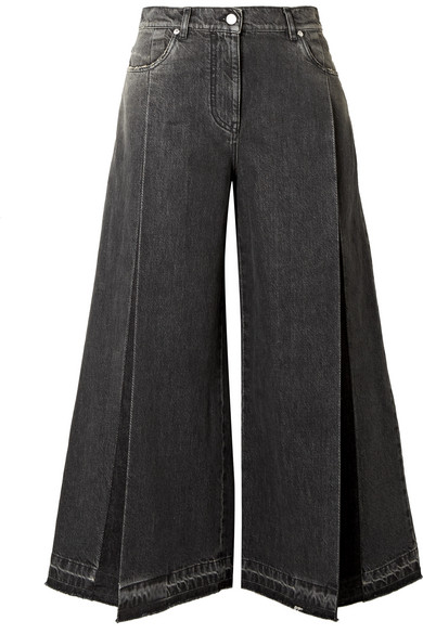 The Rockstud Cropped Pleated Wide Leg Jeans by Valentino