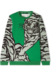 Valentino Embellished printed cotton-blend jersey sweatshirt