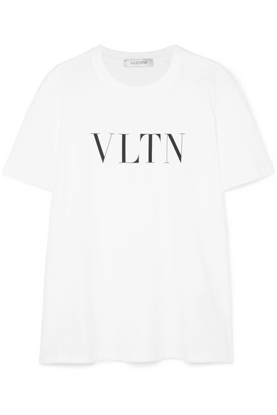 Short-Sleeve Vltn Logo Cotton Jersey T-Shirt in White