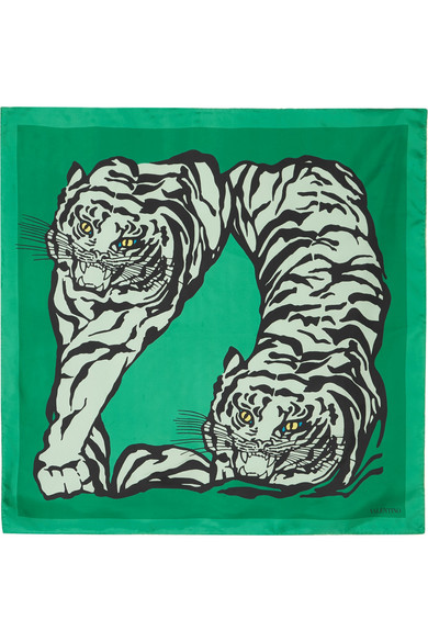 Valentino - Printed Silk-twill Scarf - Green