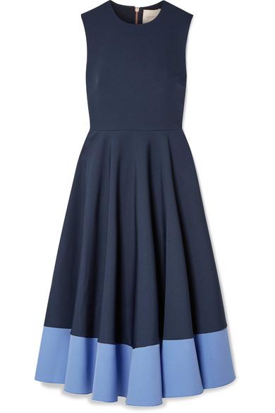 Athena Pleated Two Tone Crepe Midi Dress by Roksanda