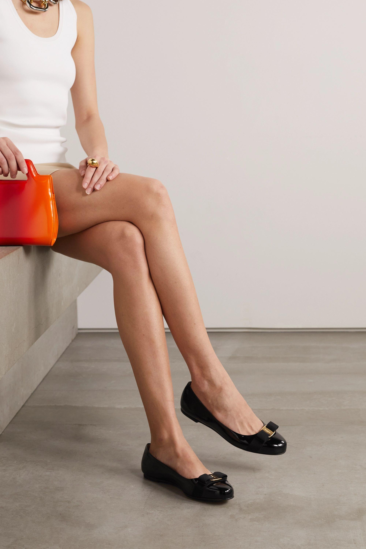 Black Varina bow-embellished patent