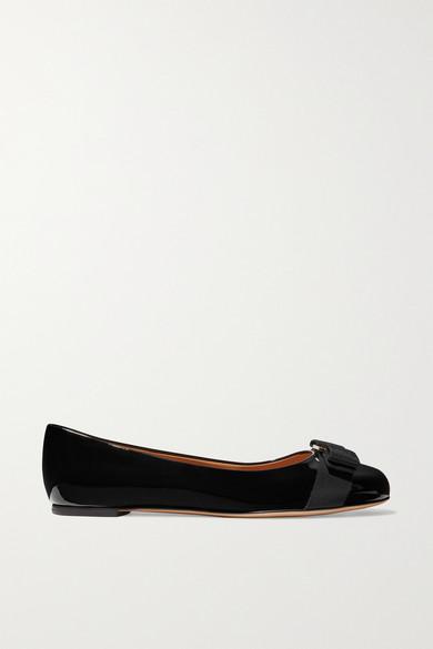 Salvatore Ferragamo Varina Studded Bow-Embellished Patent-Leather Ballet Flats In Black