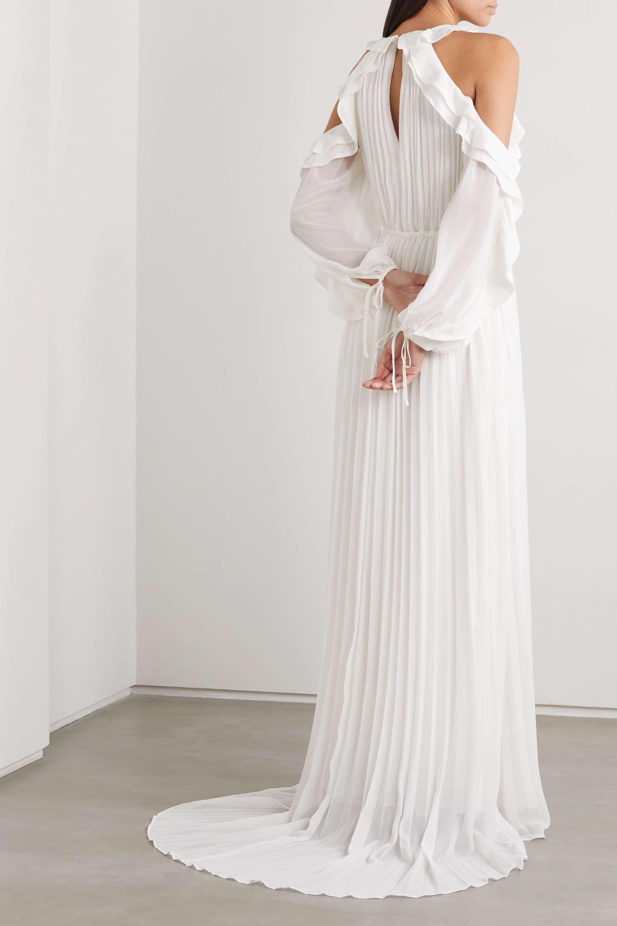 Self-Portrait Cold-shoulder ruffled pleated chiffon gown