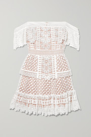 Self-Portrait Off-the-shoulder guipure lace mini dress