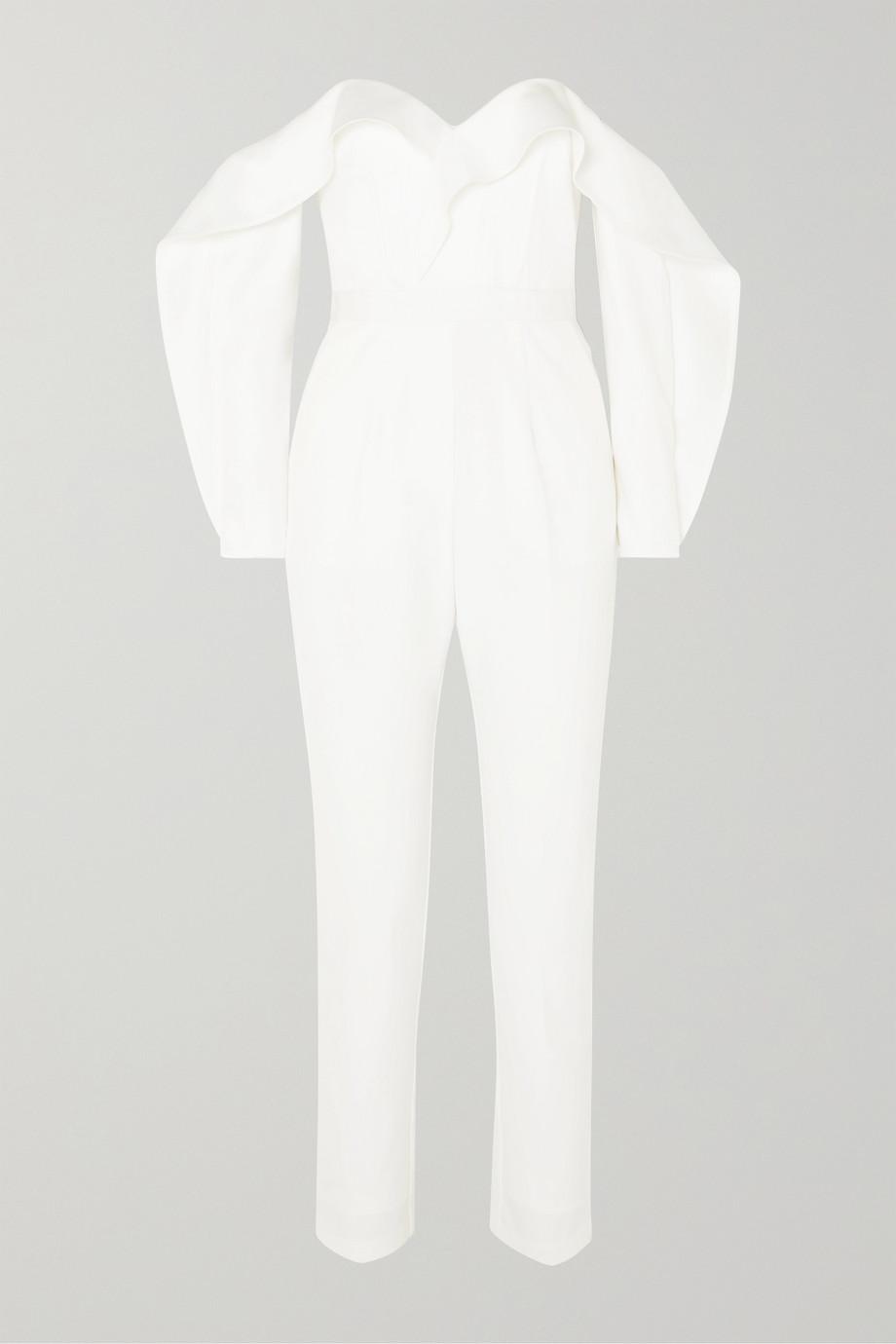 Self-Portrait Off-the-shoulder ruffled satin jumpsuit