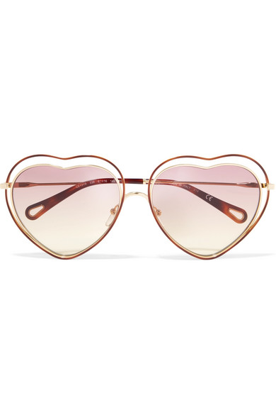 f7d4a499bf Chloé. Poppy Love heart-shaped acetate and gold-tone sunglasses