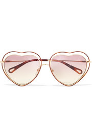 Poppy Love heart-shaped acetate and gold-tone sunglasses