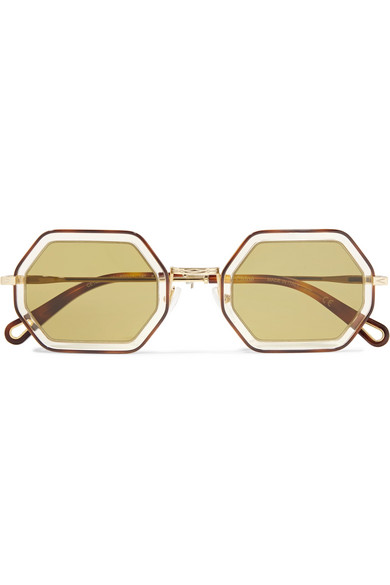 03e98a18d7e Chloé. Octagon-frame gold-tone and acetate sunglasses
