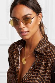 Octagon-frame gold-tone and acetate sunglasses