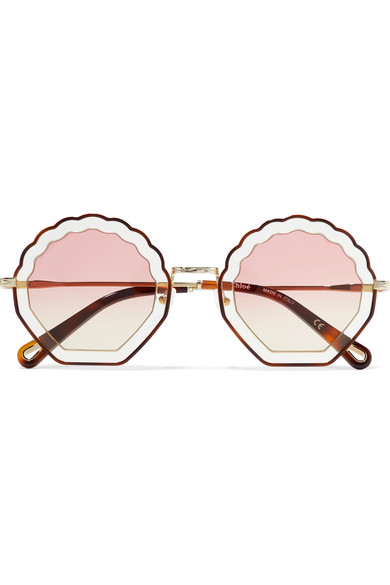 Scalloped Round Frame Gold Tone And Tortoiseshell Acetate Sunglasses by Chloé