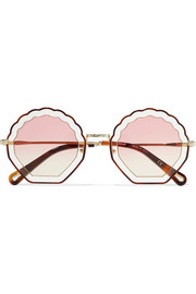 Scalloped round-frame gold-tone and tortoiseshell acetate sunglasses