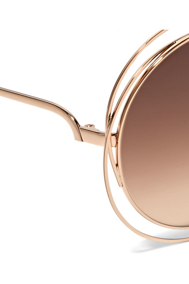 bbb13ffc2bd38 Chloé. Carlina round-frame rose gold-tone sunglasses. £106. Zoom In