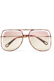 Poppy square-frame acetate and gold-tone sunglasses