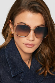 Poppy cat-eye acetate and gold-tone sunglasses