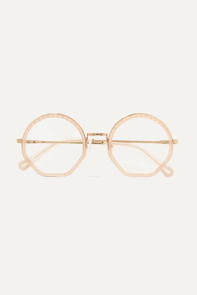 b4581d7886e Chloé - Tilda Round-frame Acetate And Gold-tone Optical Glasses - Beige
