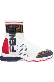 Fendi Logo-appliquéd rubber-trimmed stretch-knit slip-on sneakers