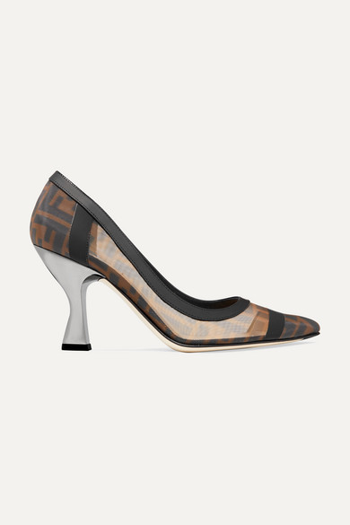 Colibrì Logo-Print Mesh And Leather Pumps in Brown