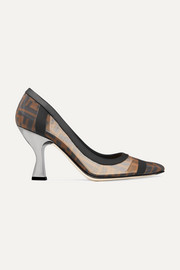 Fendi Colibrì logo-print mesh and leather pumps