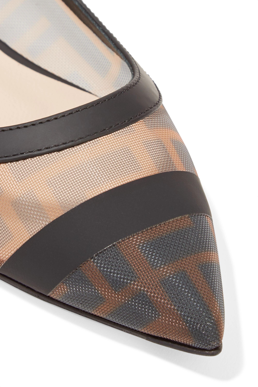 Fendi Colibri leather-trimmed logo-print mesh point-toe flats