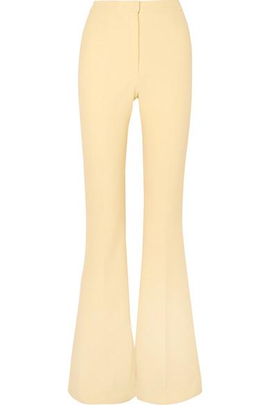 SAFIYAA Halluana Stretch-Crepe Flared Pants in Pastel Yellow