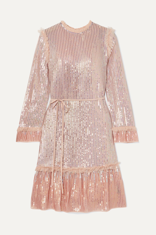 Kleid aus Chiffon mit Tüllbesatz und Pailletten
