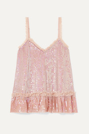 Needle & Thread Tulle-trimmed sequined chiffon camisole
