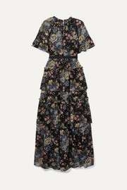 Needle & Thread Tiered floral-print fil coupé chiffon gown