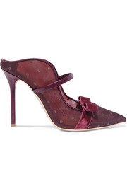 Marguerite 100 velvet and leather-trimmed mesh mules