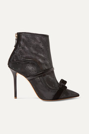 Claudia 100 velvet and leather-trimmed point d'esprit mesh ankle boots