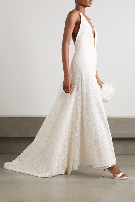 Alexandra silk guipure lace gown