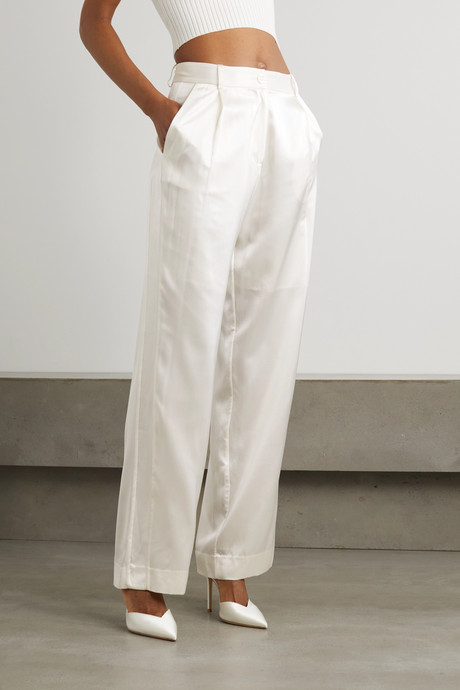 Silk-satin straight-leg pants