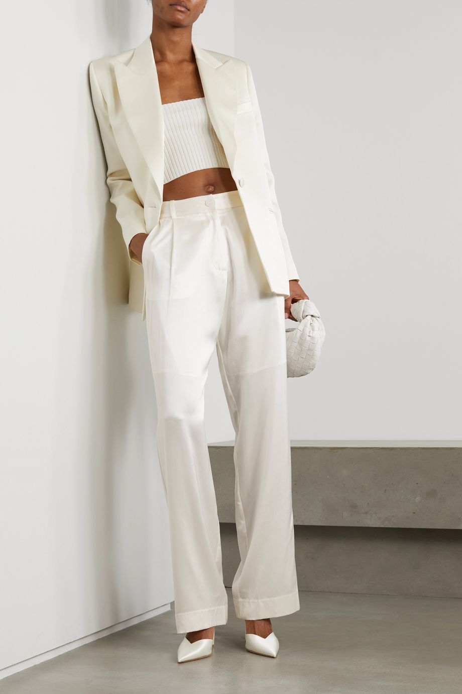 Michael Lo Sordo Silk-satin straight-leg pants