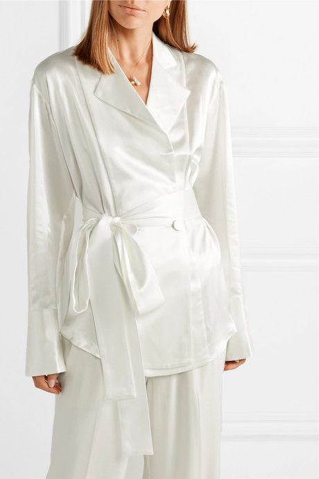 Belted double-breasted silk-satin shirt