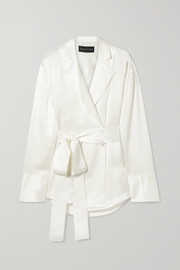 Michael Lo Sordo Belted double-breasted silk-satin shirt