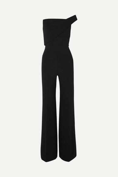 One-Shoulder Wool-Crepe Jumpsuit in Black