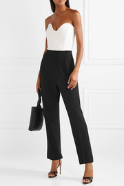Thira strapless two-tone crepe jumpsuit