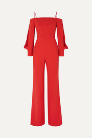 Marlow cold-shoulder crepe jumpsuit