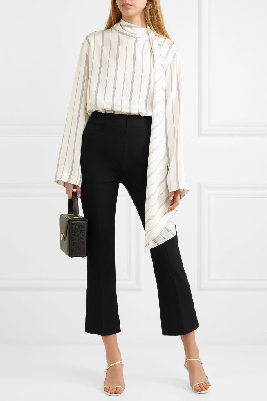Roland Mouret Goswell cropped crepe flared pants