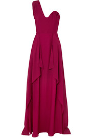 Kimberworth one-shoulder silk-crepe gown