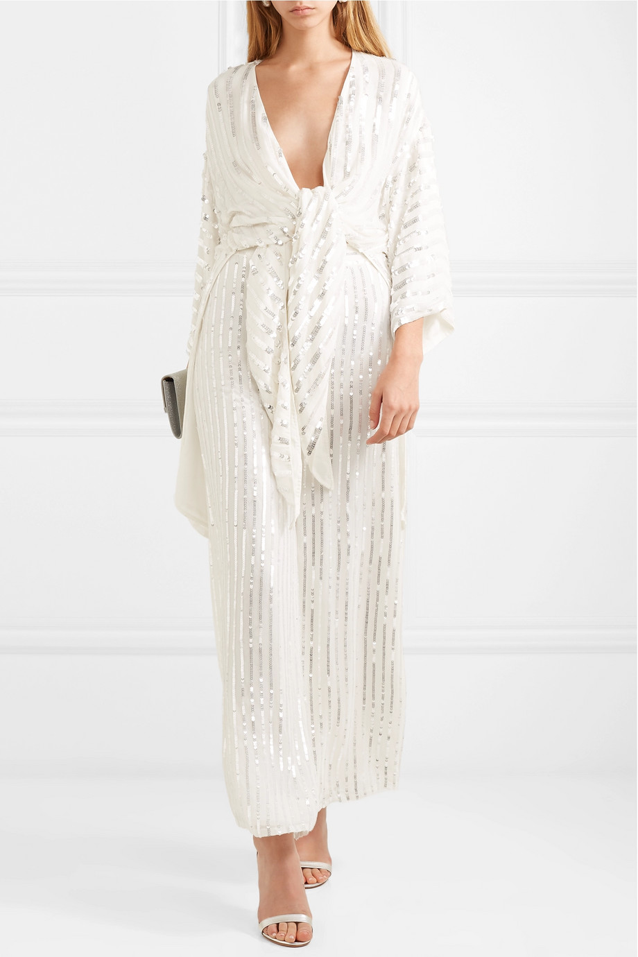 Temperley London Neri tie-front sequin-embellished crepe kimono
