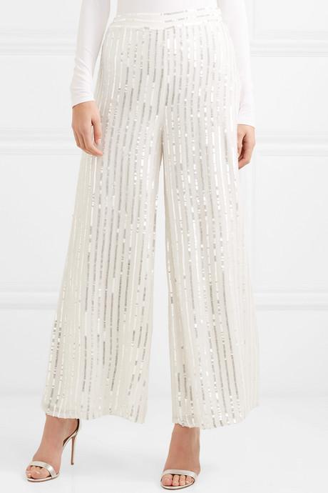 Neri sequin-embellished crepe wide-leg pants