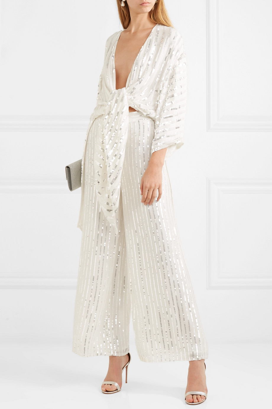 Temperley London Neri sequin-embellished crepe wide-leg pants