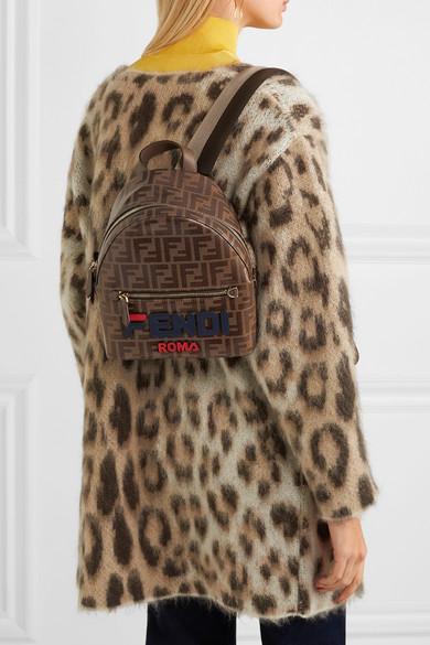 Fendi | Leather-trimmed <b>printed</b> coated-<b>canvas backpack</b> | NET-A ...