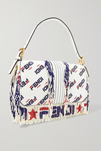 7c730d13efd Fendi Baguette Fringed Beaded Printed Leather Shoulder Bag In White ...