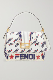 Fendi Baguette bead-embellished printed leather shoulder bag