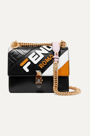Fendi Kan I mini appliquéd leather shoulder bag